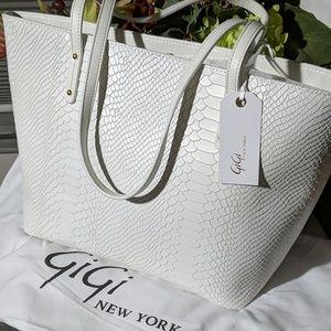 Gigi New York White Embossed Bag